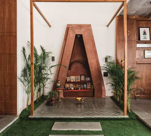 Puja room with a pinch of green