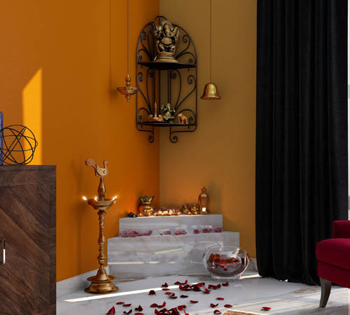 puja room with enchanting colours