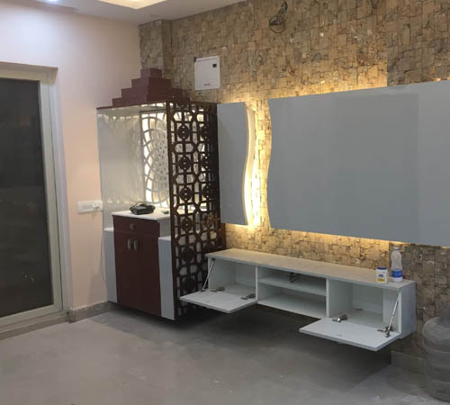 Puja units with stone cladding
