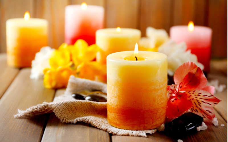 Colorful candles decor