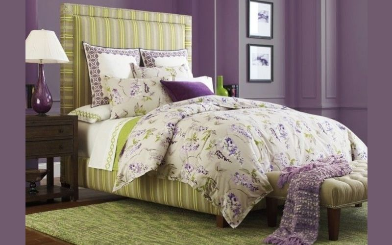 Lilac and Olive Bedroom Color