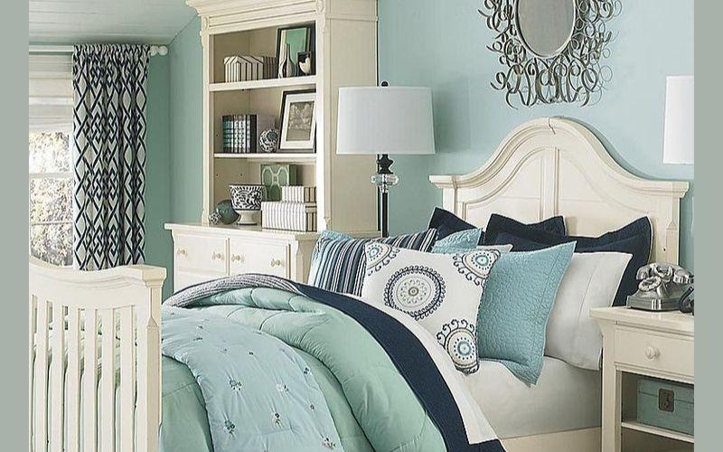 Denim Blue and Mint Bedroom Color