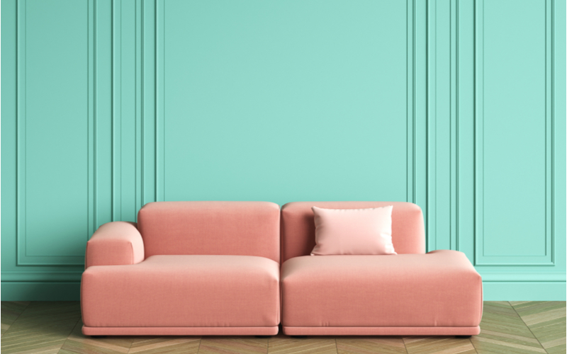 Soft Pink and Turquoise Living Room