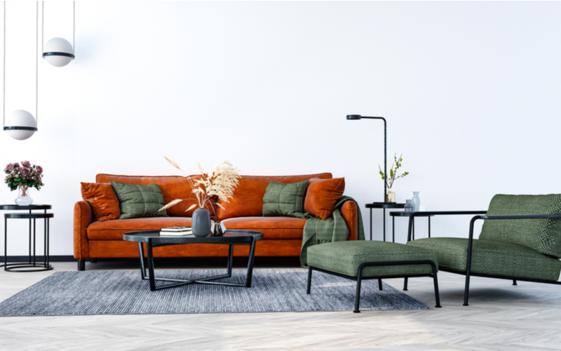 Neutrals and Oranges Living Room