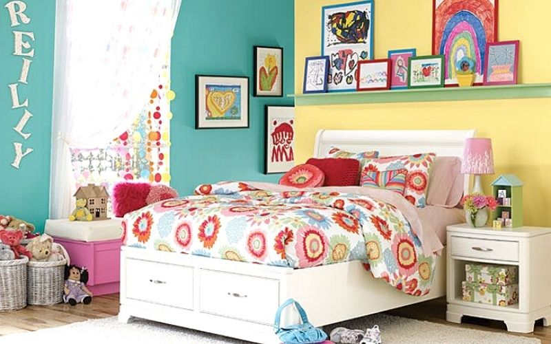 Daffodil and Teal Bedroom Color