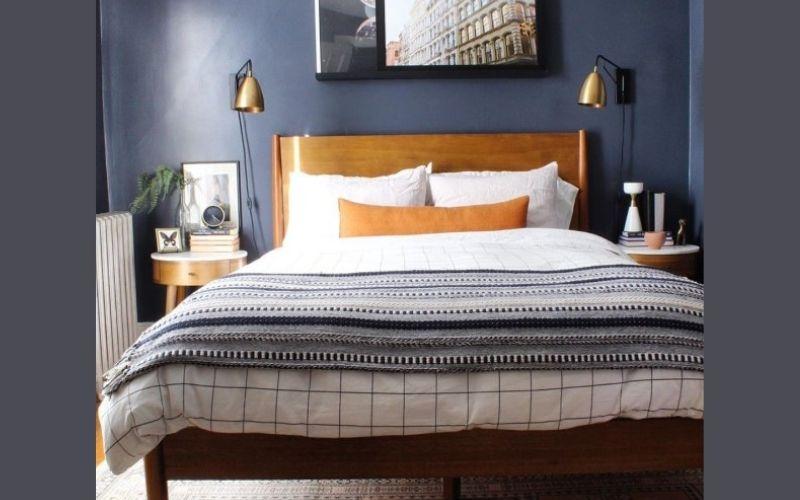 Blue and Sandstone Bedroom Color