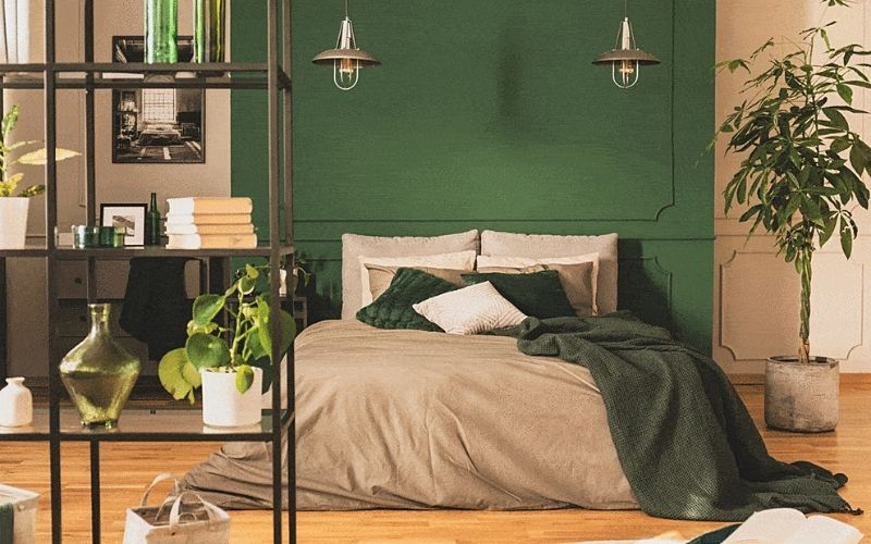 Green and Red Brick Bedroom Color