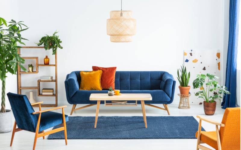 Bright Orange and Blue Living Room