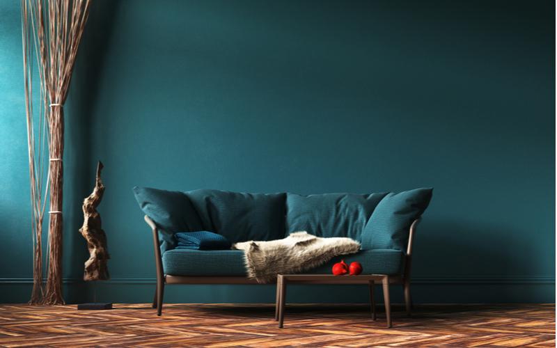 Deep Blue and Neutrals Living Room