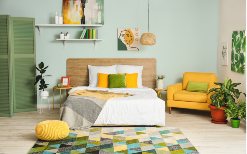 Blue and Green Bedroom Color