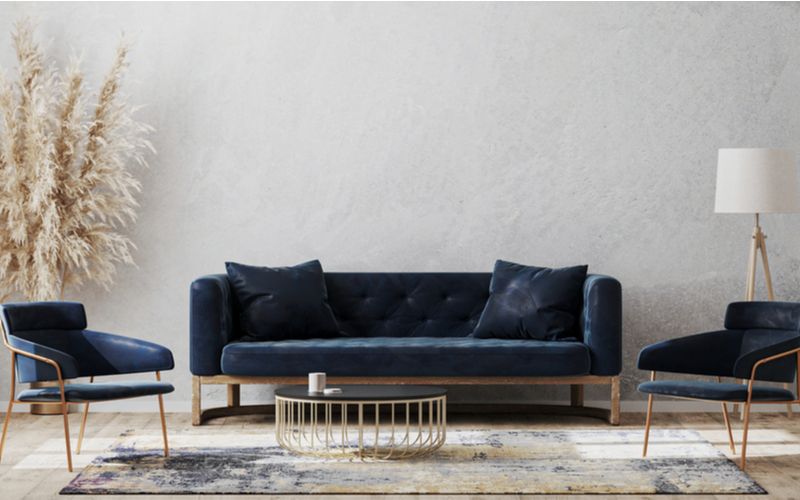 Grey and Deep Blue Living Room