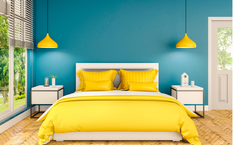 Banana Yellow and Berry Blue Bedroom Color