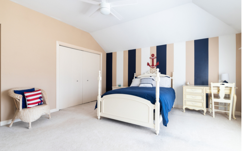 Navy and Tans Bedroom Color