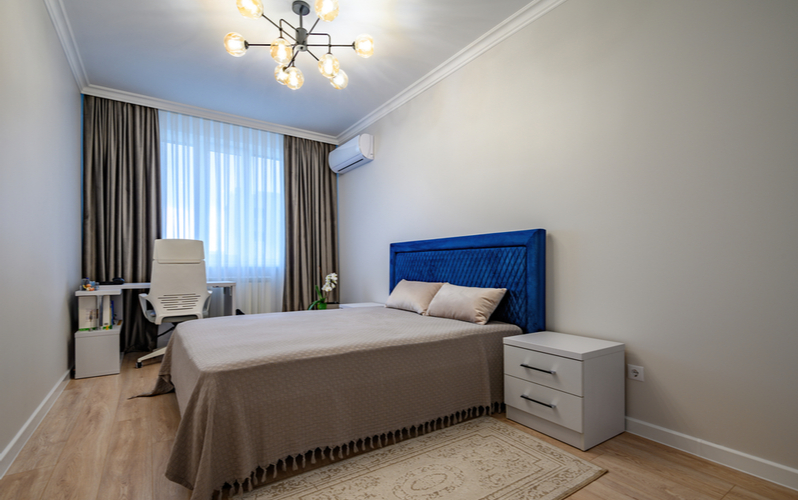 Light sapphire and blonde wood Bedroom Color