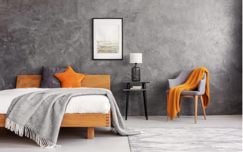 Orange and Gray Bedroom Color