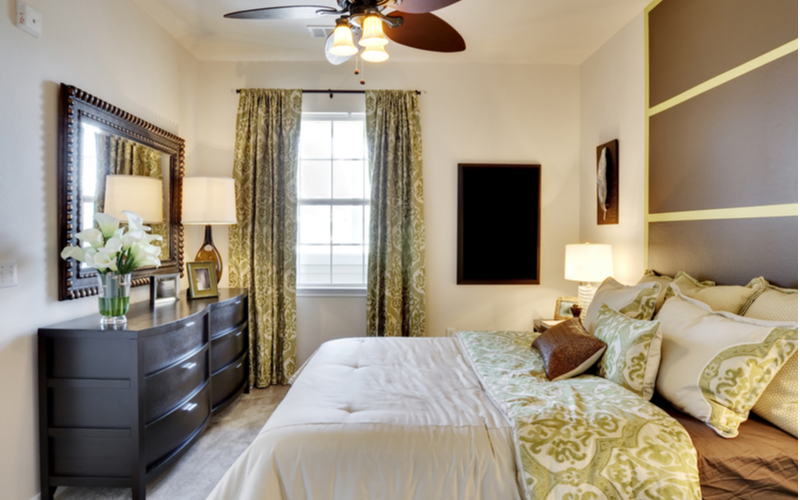 Green, Tan And Redstone Bedroom