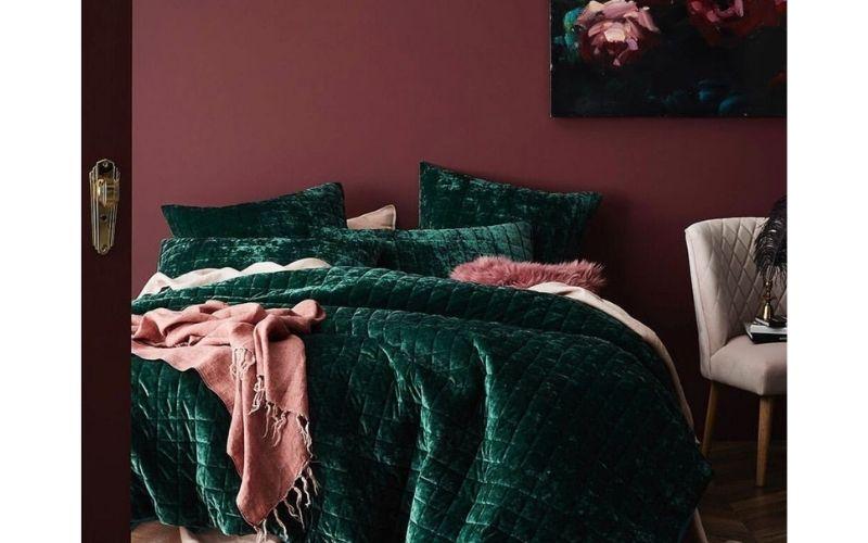 Emerald and Mauve Bedroom Color