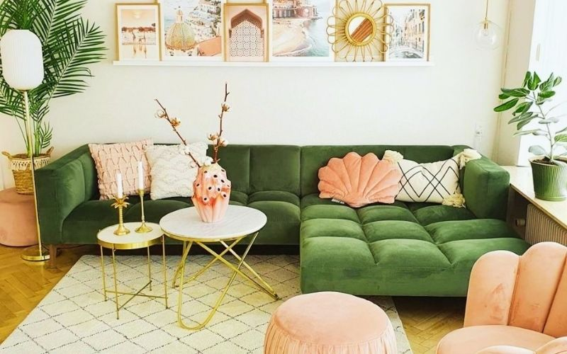 Peach and Lime Living Room