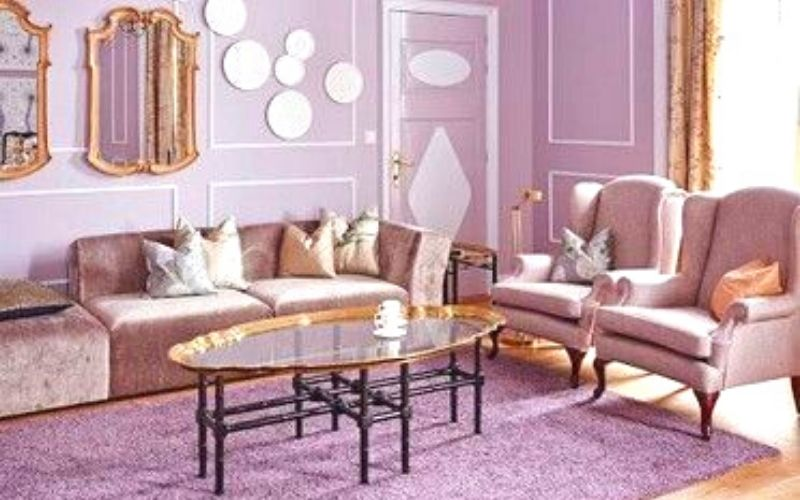 Lilac and Dust Pink Living Room