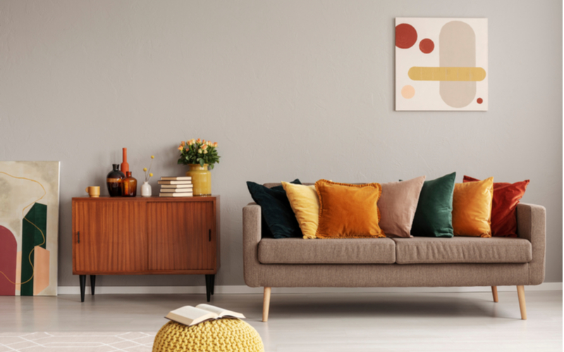 Beige and Yellow Living Room