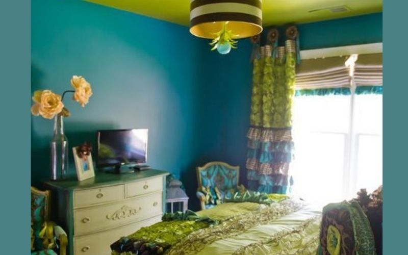 Chartreuse and Teal Bedroom Color