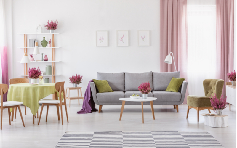 Red Pink and Olive Living Room