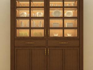 Crockery Unit Tall With 4 Shelves & 2 Doors – Walnut Finish - In Kolkata