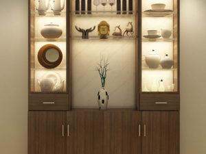 Display Cabinet With 4 Doors – Walnut Finish - In Kolkata