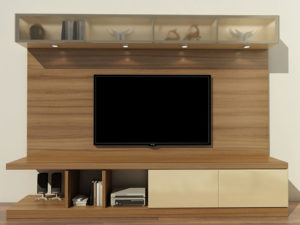 TV Unit With Open & Closed Storage – Natural & Off-White Finish - In Kolkata