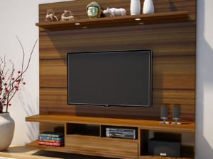 TV Cabinet With Storage – Rustic Cinnamon Finish in kolkata