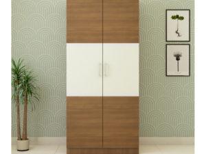 2 Door Swing Classic Wardrobe in Ivory White and Jungle Wood Gloss Finish