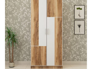 2 Door Wardrobe in Natural Wood and Ivory White Finish