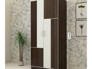 2 Door Wardrobe in Dark Walnut and Ivory White Finish