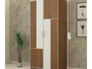 2 Door Wardrobe in Jungle Teak & Ivory White Finish