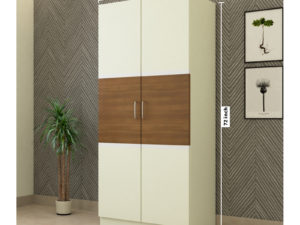 2 Door Swing Contemporary Wardrobe in Ivory White and Jungle Wood Gloss Finish