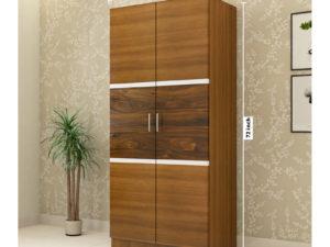 2 Door Swing Wardrobe in Glossy Jungle Teak and Jungle Wood Finish