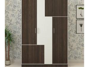3 Door Wardrobe in Dark Walnut and Ivory White finish
