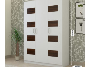 3 Door Swing Wardrobe in Chequered Ivory White and Wenge Finish