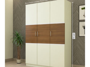 3 Door Swing Contemporary Wardrobe in Ivory White and Jungle Wood Gloss Finish
