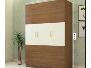 3 Door Swing Classic Wardrobe in Ivory White and Jungle Wood Gloss Finish