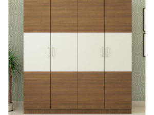 4 Door Classic Wardrobe in Ivory White and Jungle Wood Finish