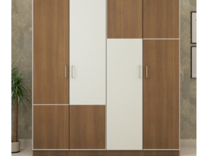 4 Door Wardrobe in Jungle Teak & Ivory White Finish
