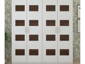 4 Door Swing Wardrobe in Chequered Ivory White and Wenge Finish
