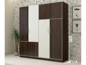 4 Door Wardrobe in Dark Walnut & Ivory White Finish
