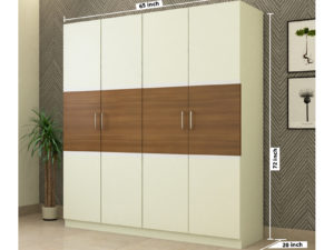 4 Door Contemporary Swing Wardrobe in Ivory White and Jungle Wood Finish