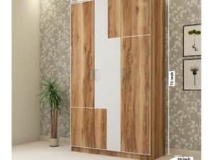 3 Door Wardrobe in Natural Wood and Ivory WhiteFinish