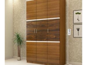 3 Door Swing Wardrobe in Jungle Wood Gloss and Jungle Teak Finish