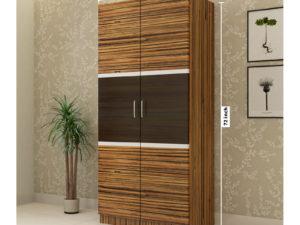 2 Door Swing Wardrobe in Grainy Brown Gloss and Wenge Finish