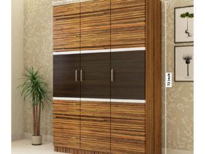 3 Door Swing Wardrobe in Grainy Brown Gloss and Wenge Finish