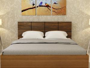 Callum Bed in Glossy Jungle Teak & Dark Jungle Wood Finish